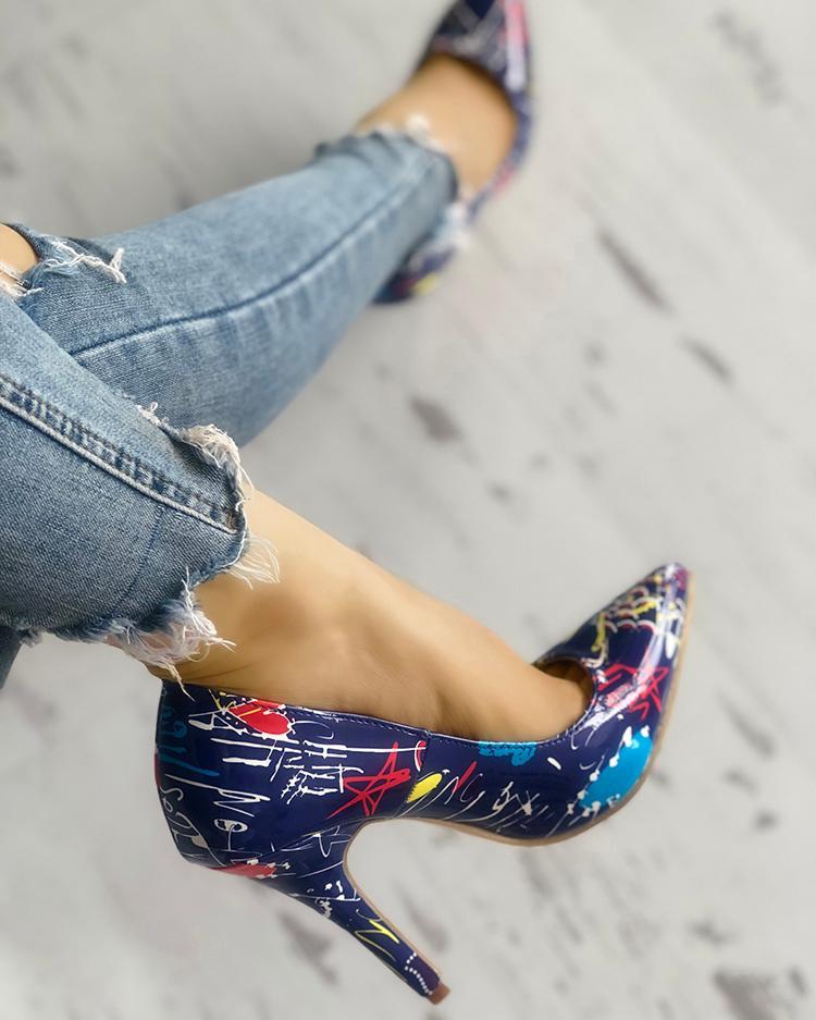 chicme / Graffiti Print Point Toe Thin Heels