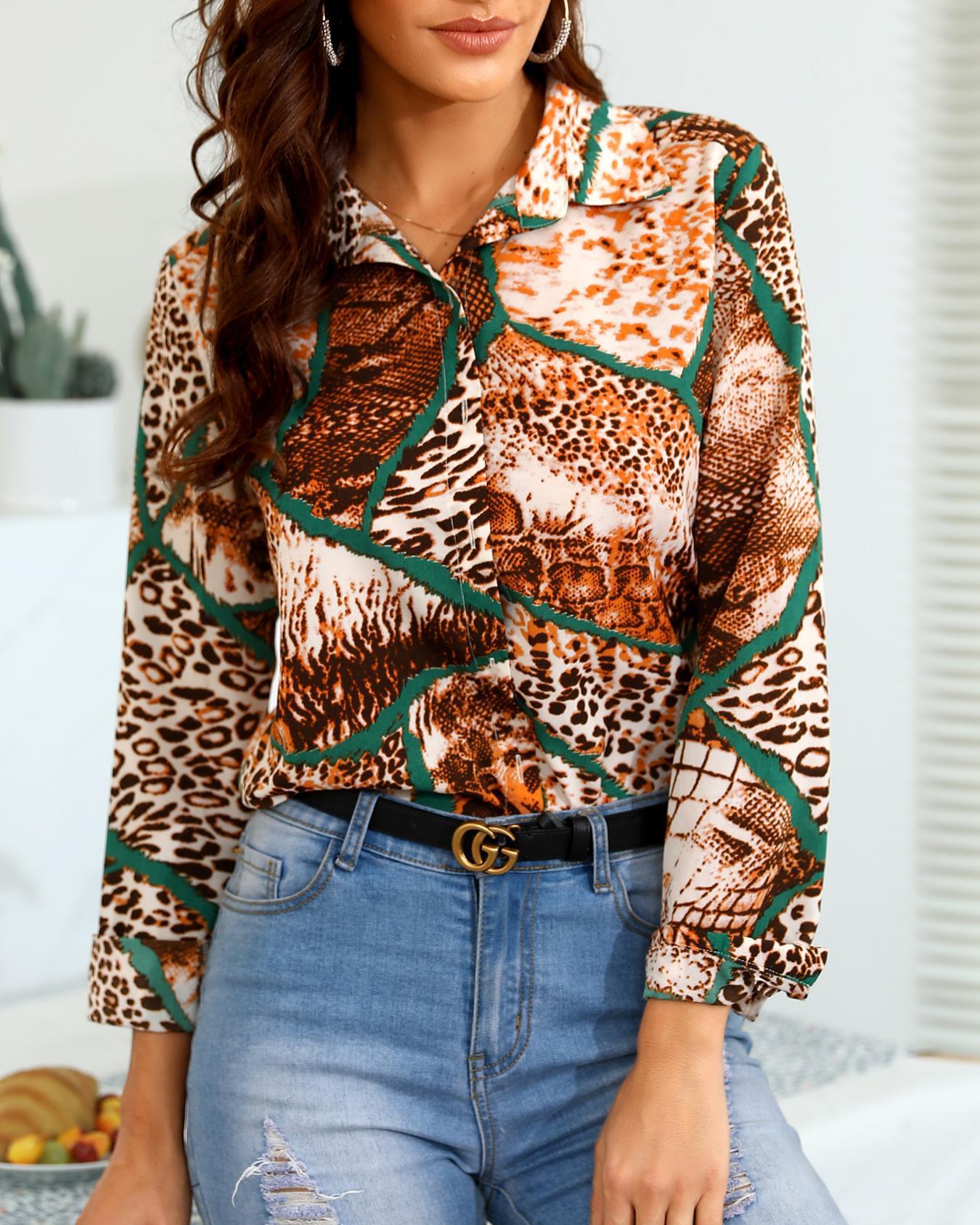 Leopard Print Insert Casual Shirt, Multicolor