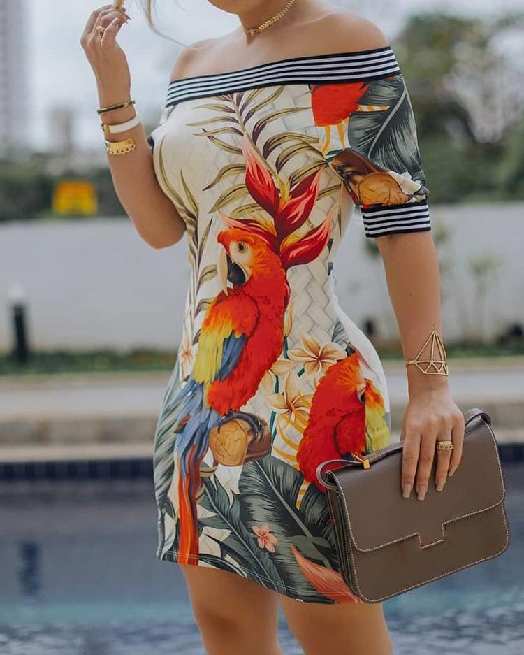 Off Shoulder Bird Pattern Striped Tape Splicing Dress