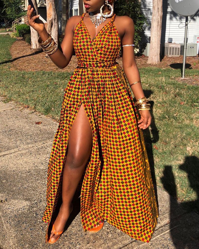 Colorful Grid Spaghetti Strap High Slit Maxi Dress фото