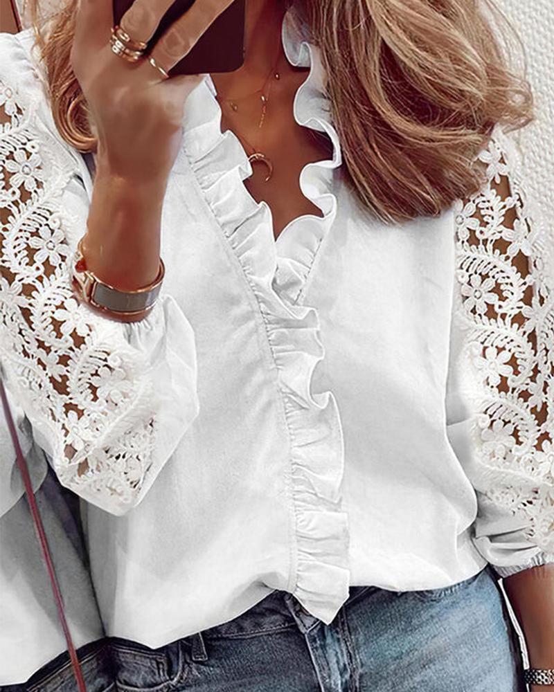 Solid Color Splicing Lace Ruffle Hem Long Sleeve Shirt