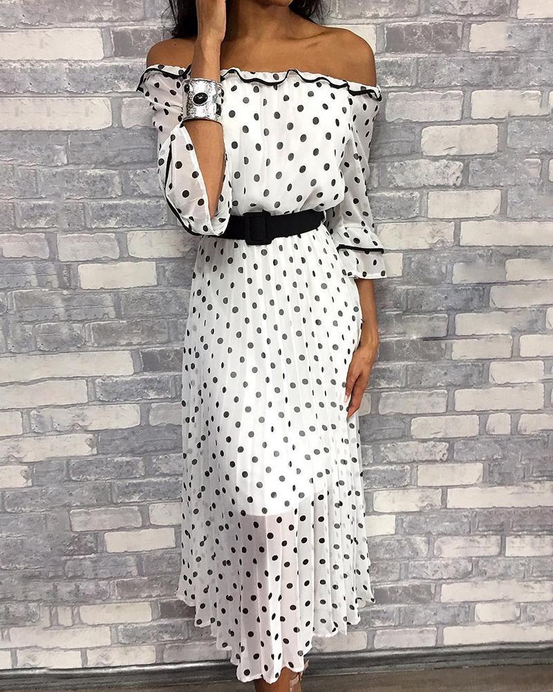 boutiquefeel / Vestido informal con estampado de puntos en el hombro