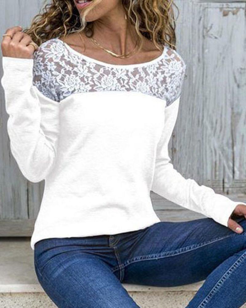 Long Sleeve Lace Yoke Top