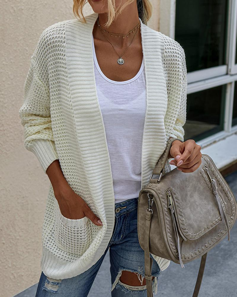 Solid Pocket Design Long Sleeve Knit Cardigan фото