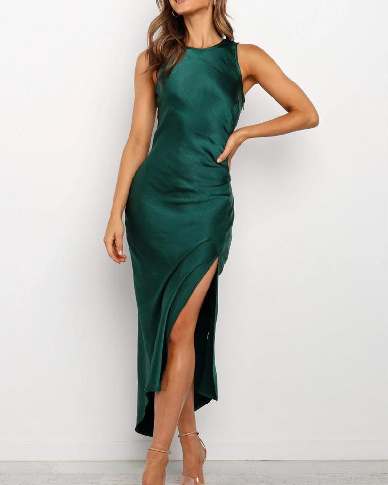Round Neck Asymmetric Slit Dress фото