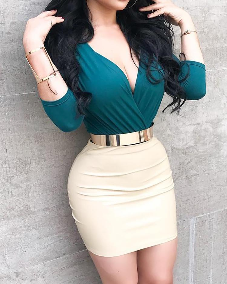 chicme / Deep V Two Tone Insert Bodycon Dress