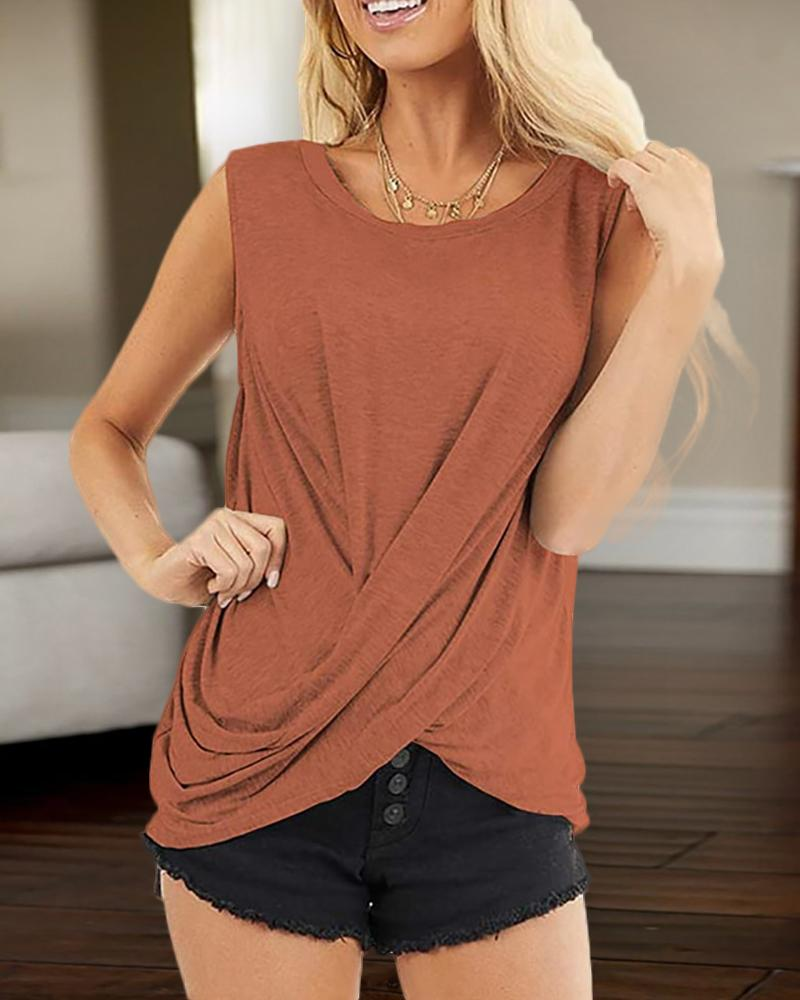 Solid Round Neck Tank Top фото