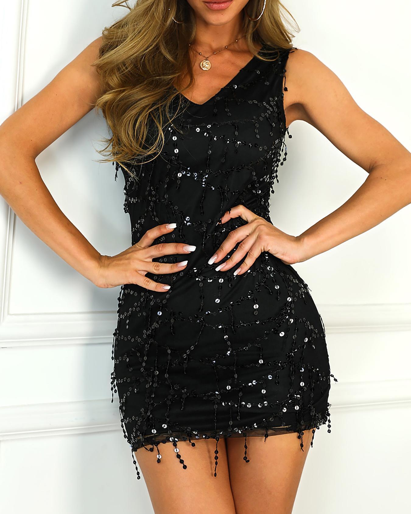 Sequins Tassel Design Sleeveless Bodycon Dress