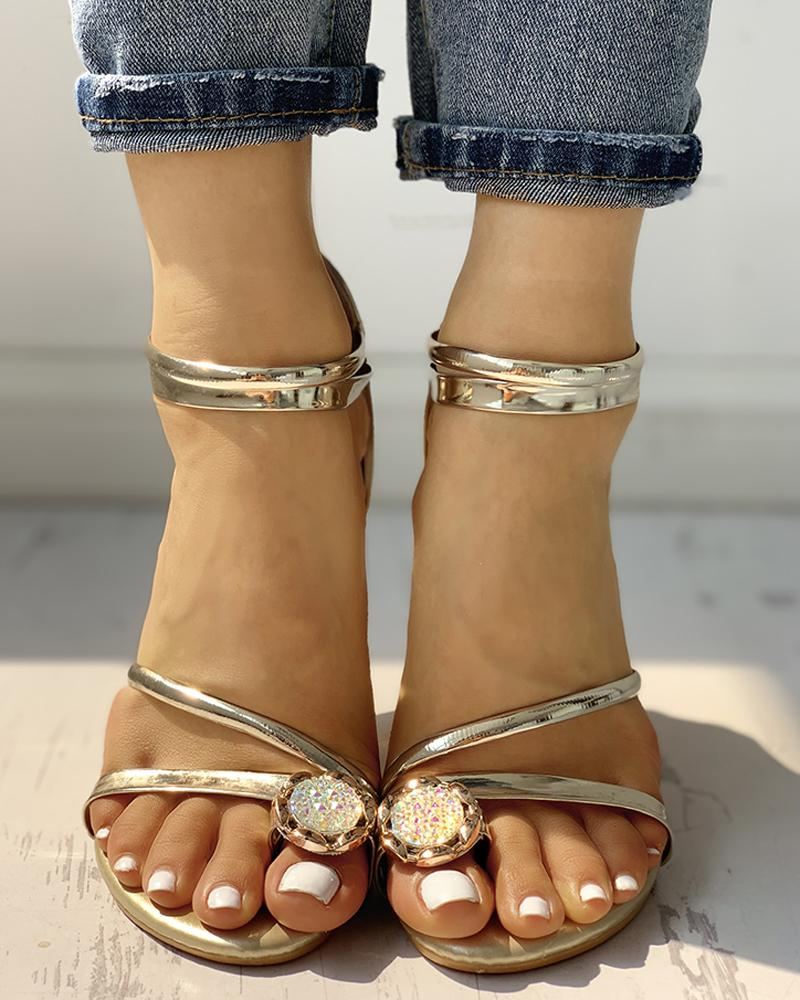 chicme / Detalhe Studded Toe Ring Sandals Casual