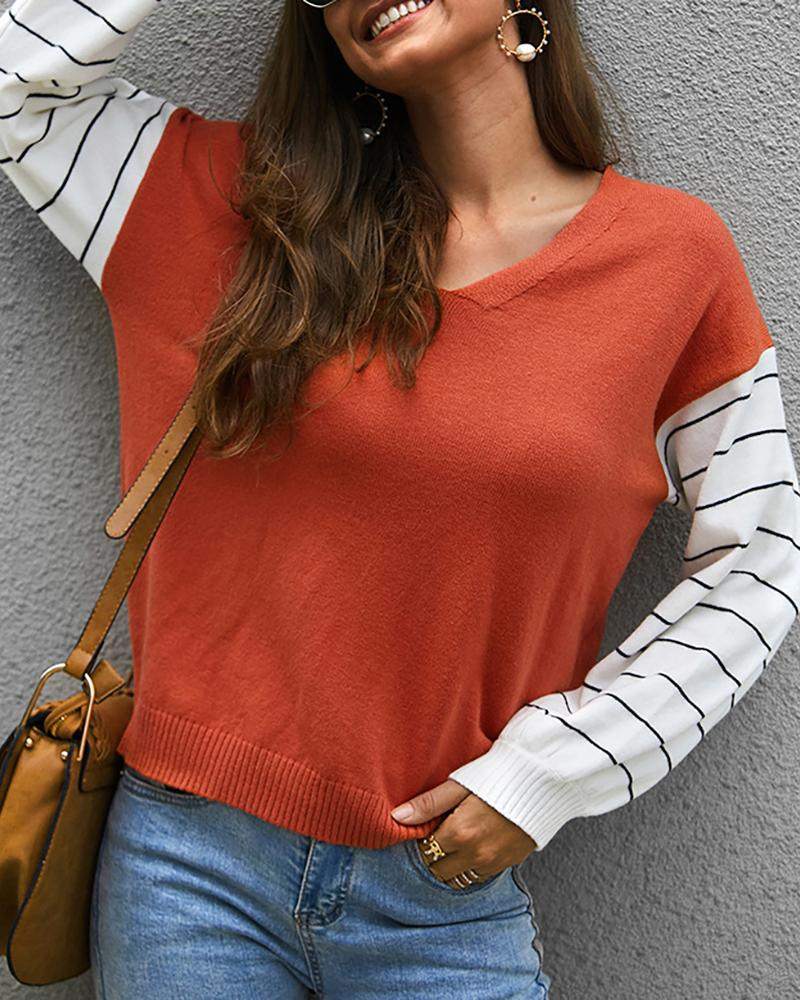 Striped Colorblock Knit Casual Sweater фото