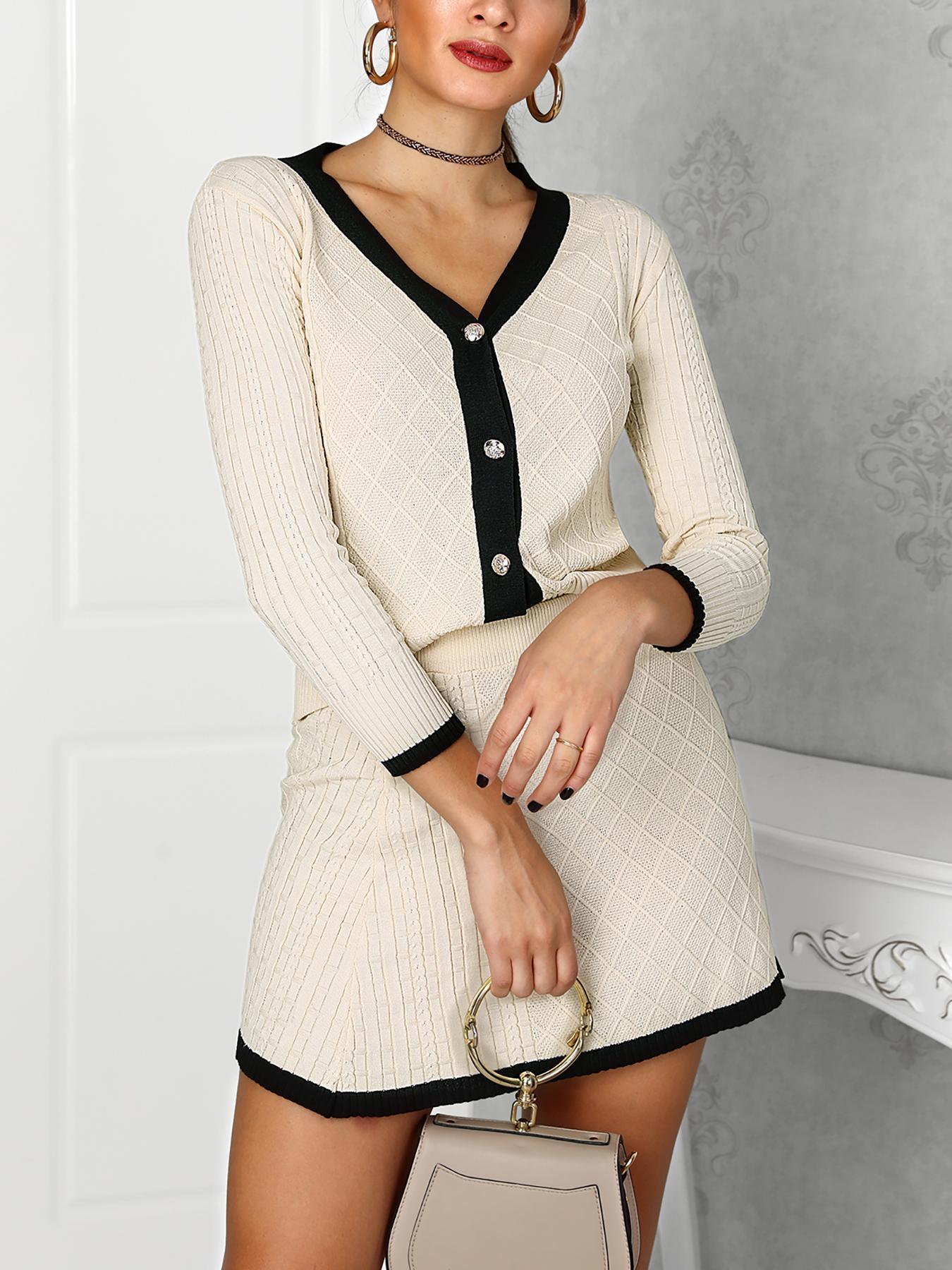 Binding Single Breasted Cardigan & Skirt Set