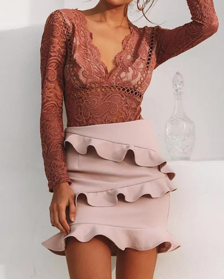 Solid Color Layered Ruffled Hip Skirt
