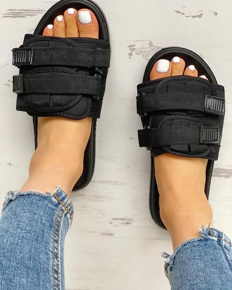 Velcro Design Open Toe Flat Sandals, Black