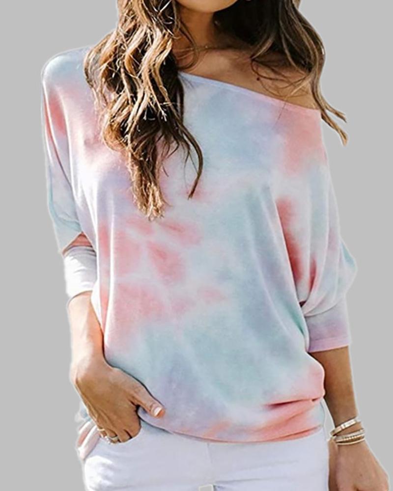 Tie Dye Print Long Sleeve Casual Top фото