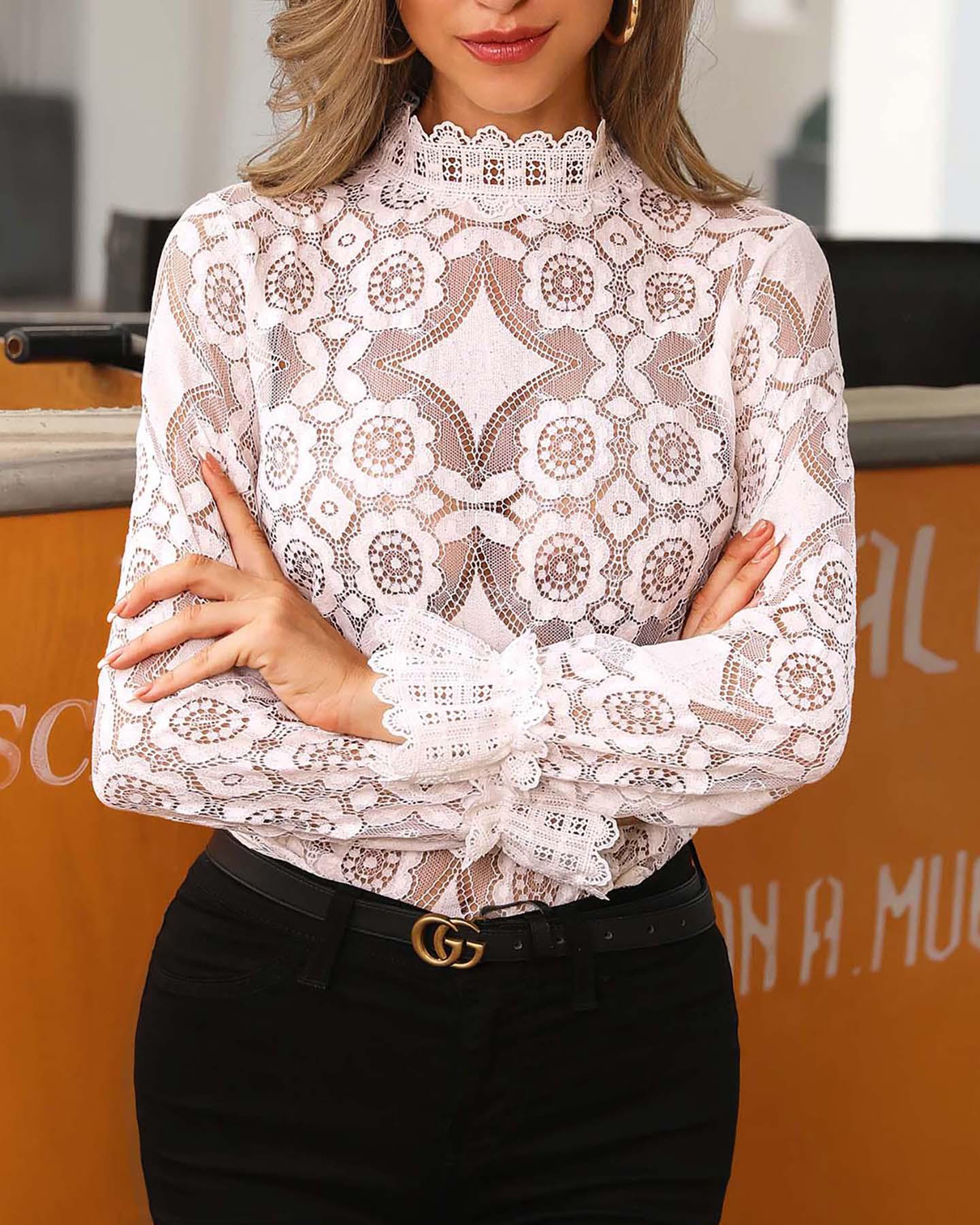 Sheer Hollow Out Mock Neck Lace Top фото