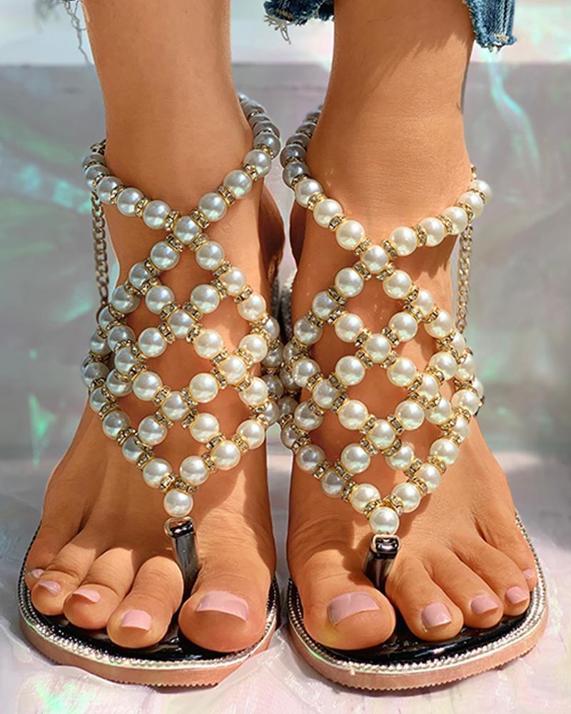 Beaded Toe Ring Flat Sandals фото