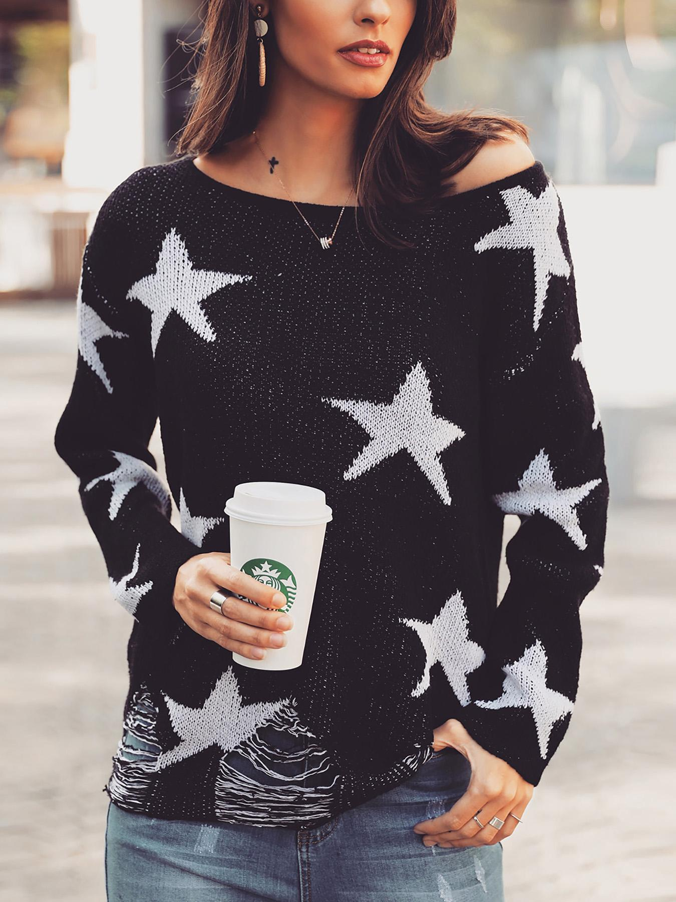 Star Print Ripped Pullover Casual Sweater