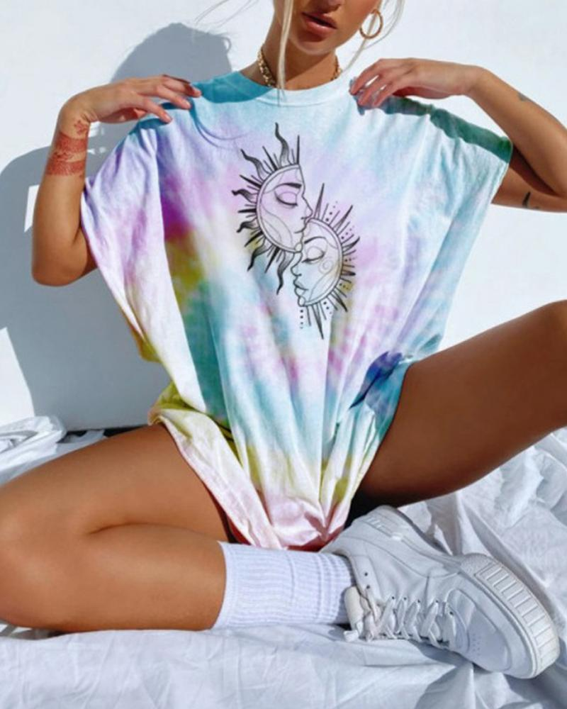 Tie Dye Round Neck Loose T-shirt фото