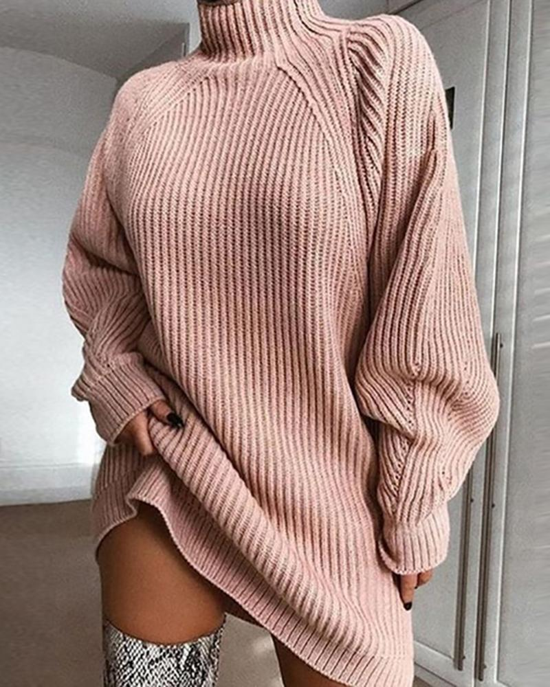 ivrose / Solid High Neck Ribbed Knitting Sweater Dress