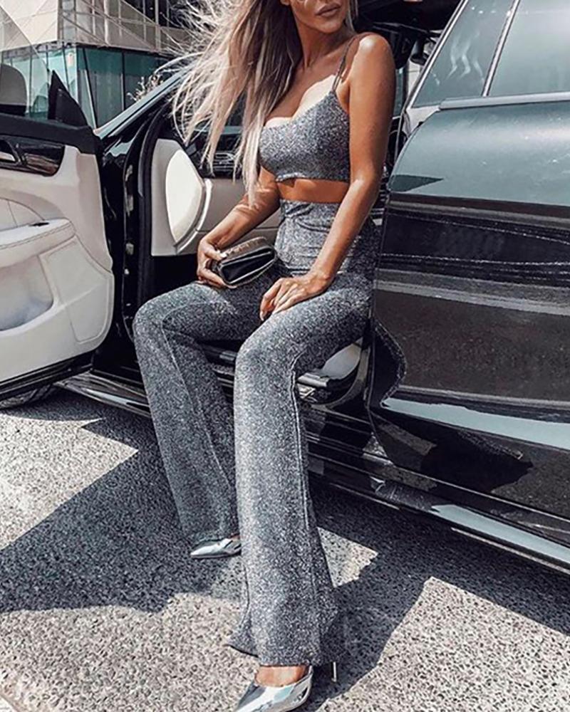 boutiquefeel / Calças de perna larga com cintura alta e brilho