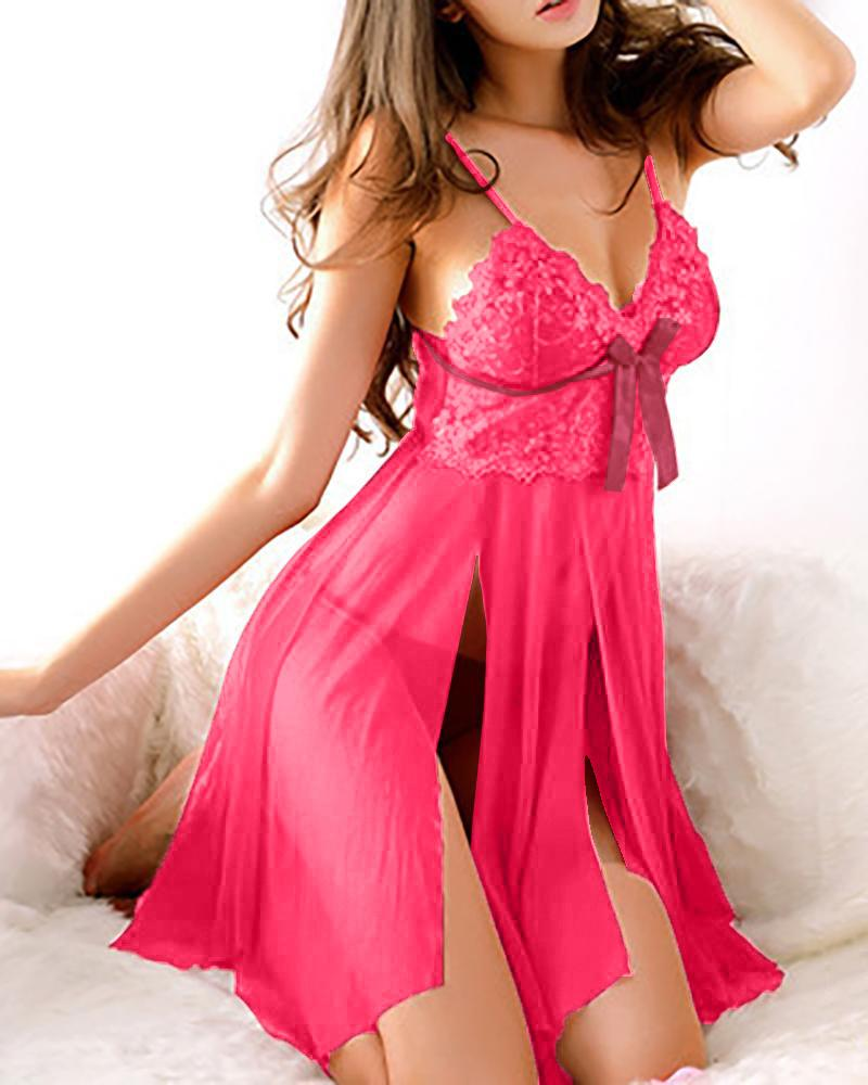 Lace Bodice Babydoll Slip With Thong фото