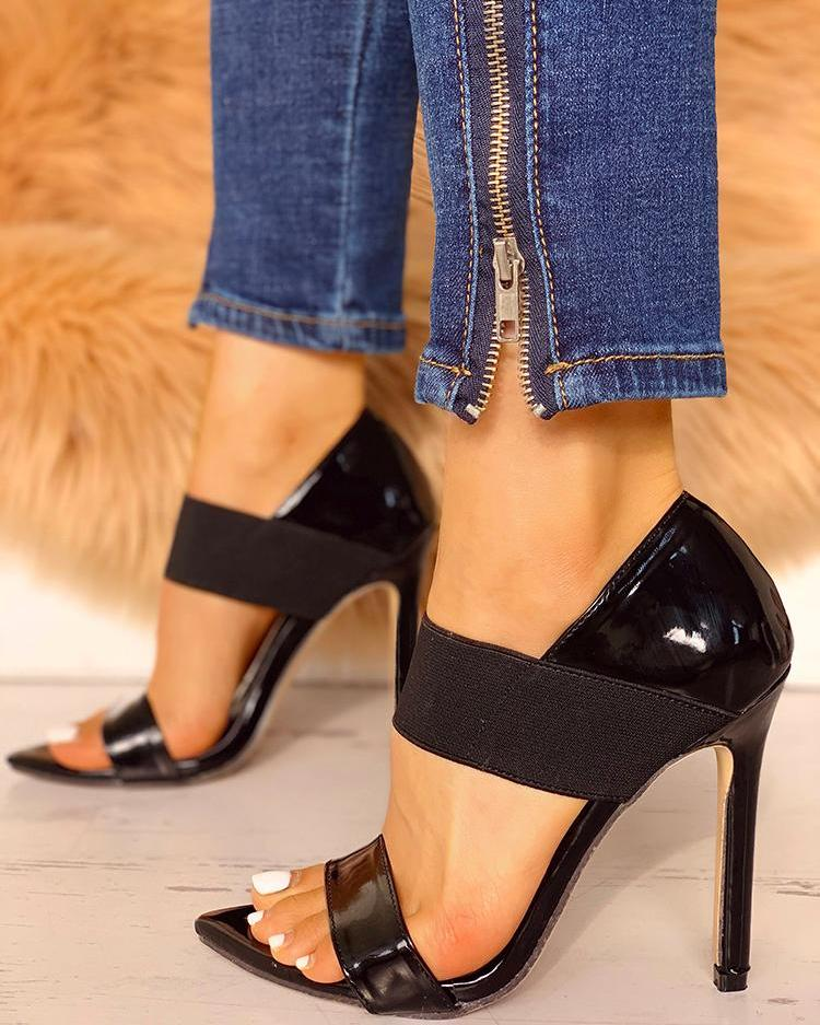 Elastic Band Thin Heeled Sandals