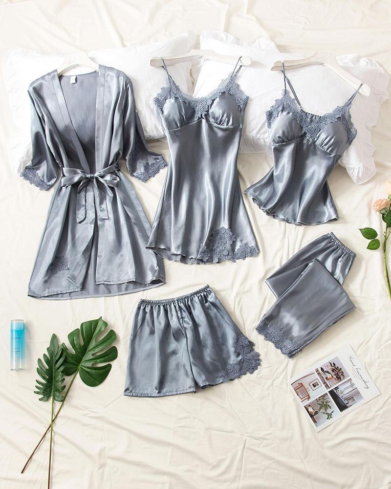 Satin Slim Fit 5Pcs Pajama Set фото