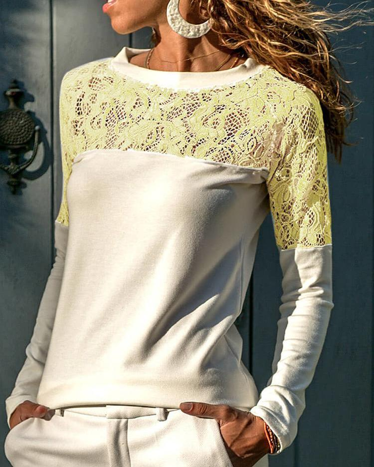 Lace Crochet Long Sleeve T-Shirt