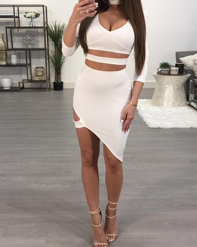 Choker Cut Out Irregular Bodycon Dress фото