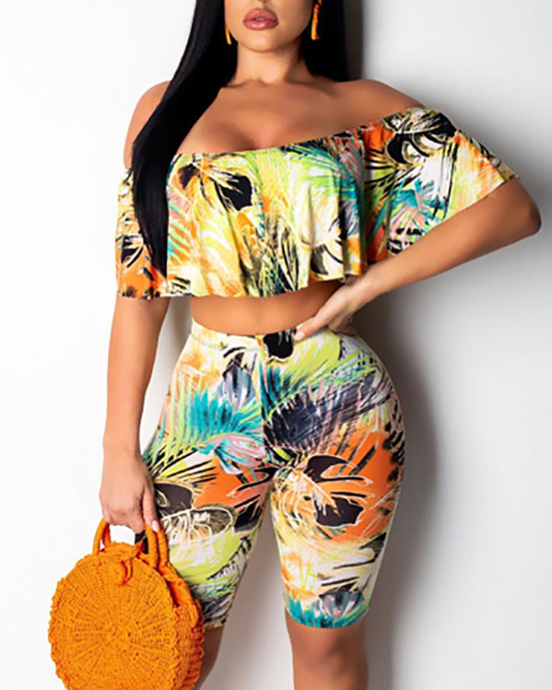 Tropical Print Flounce Top & Short Set фото
