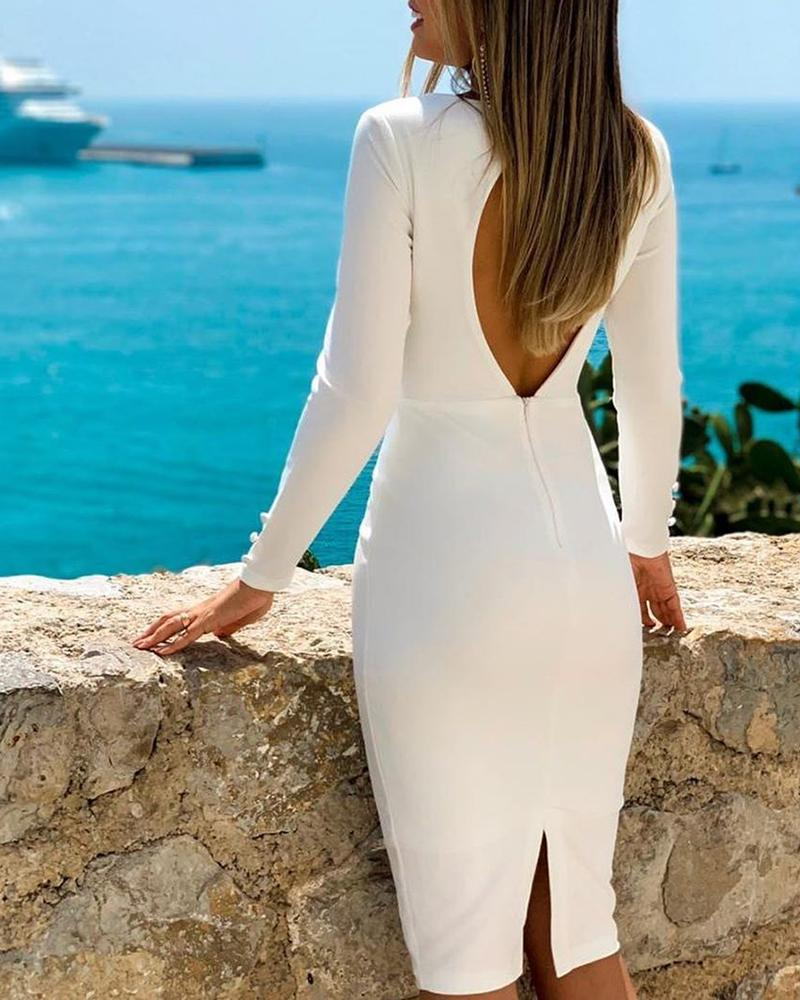 Open Back Long Sleeve Slit Bodycon Dress