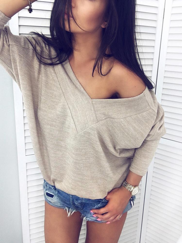 Fashion V Neck Long Sleeve Casual Blouse