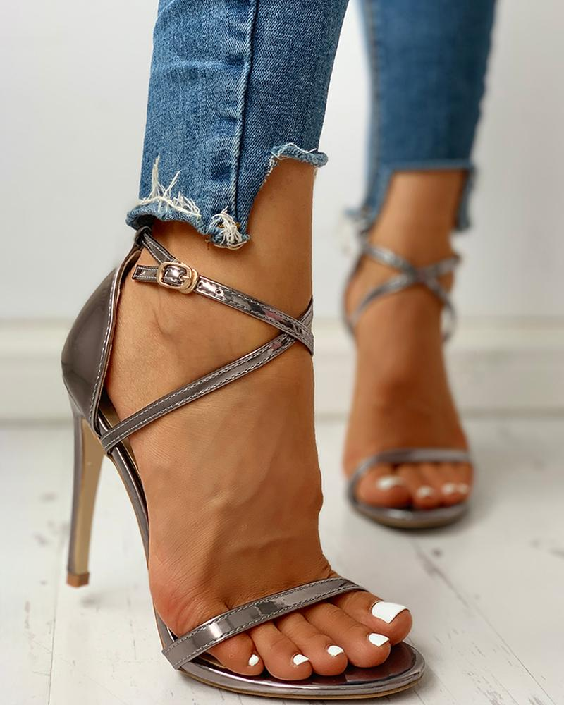 Glitter Multi-strap Ankle Buckled Thin Heeled Sandals, Gray