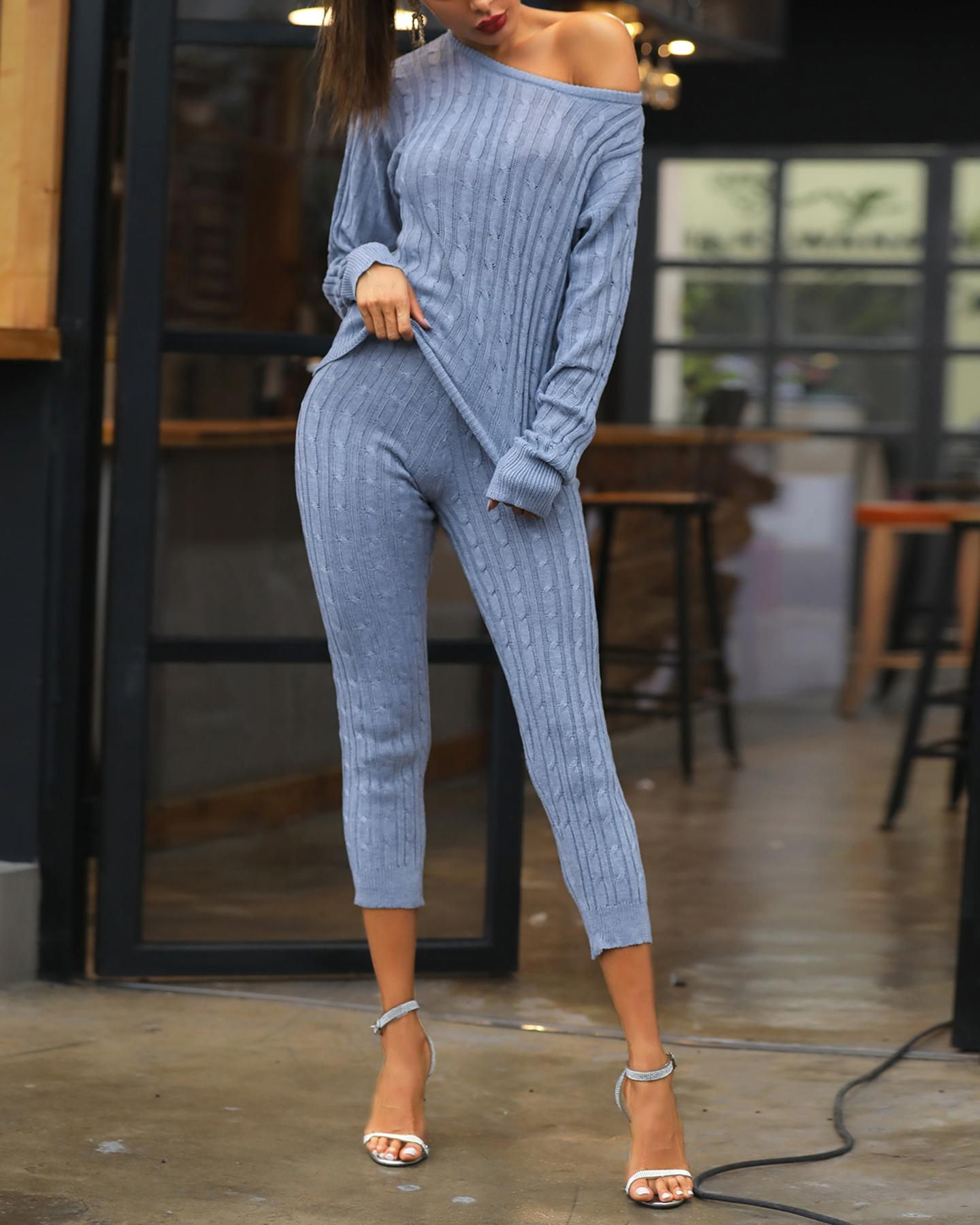 Solid Long Sleeve Round Neck Top & Pant Sets