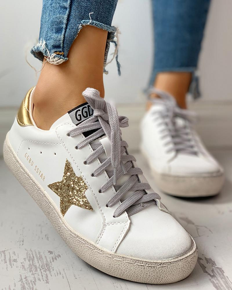 ivrose / Zapatillas de deporte con cordones y lentejuelas Star Design