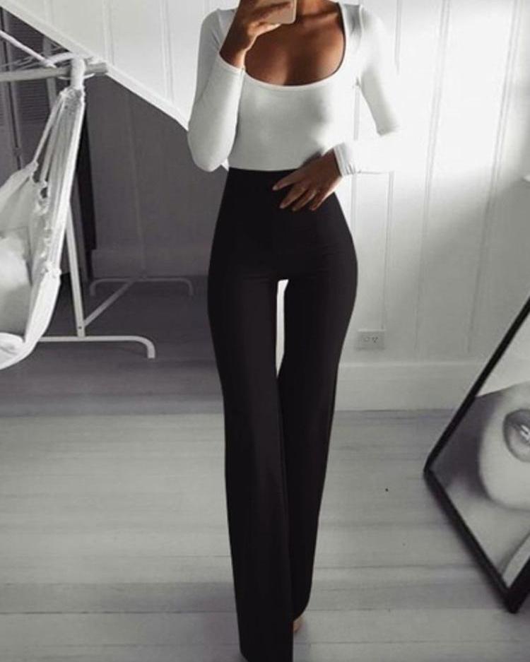 Solid High Waist Bell-Bottom Pants, joyshoetique, black  - buy with discount