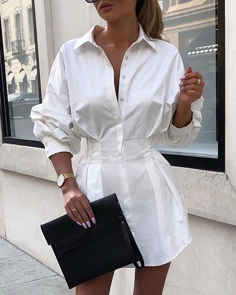 boutiquefeel / Camisa de manga larga sólida con cintura ajustada