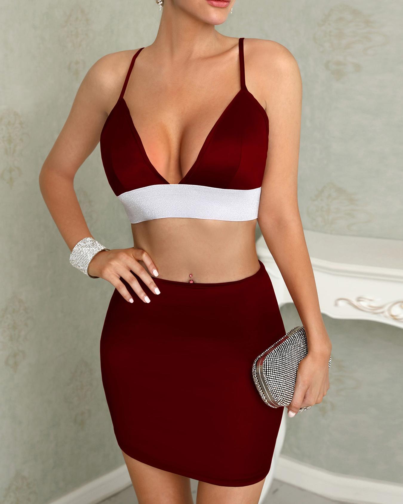 chicme / Brillante correa de espagueti cintura alta cami recortado vestidos de dos piezas