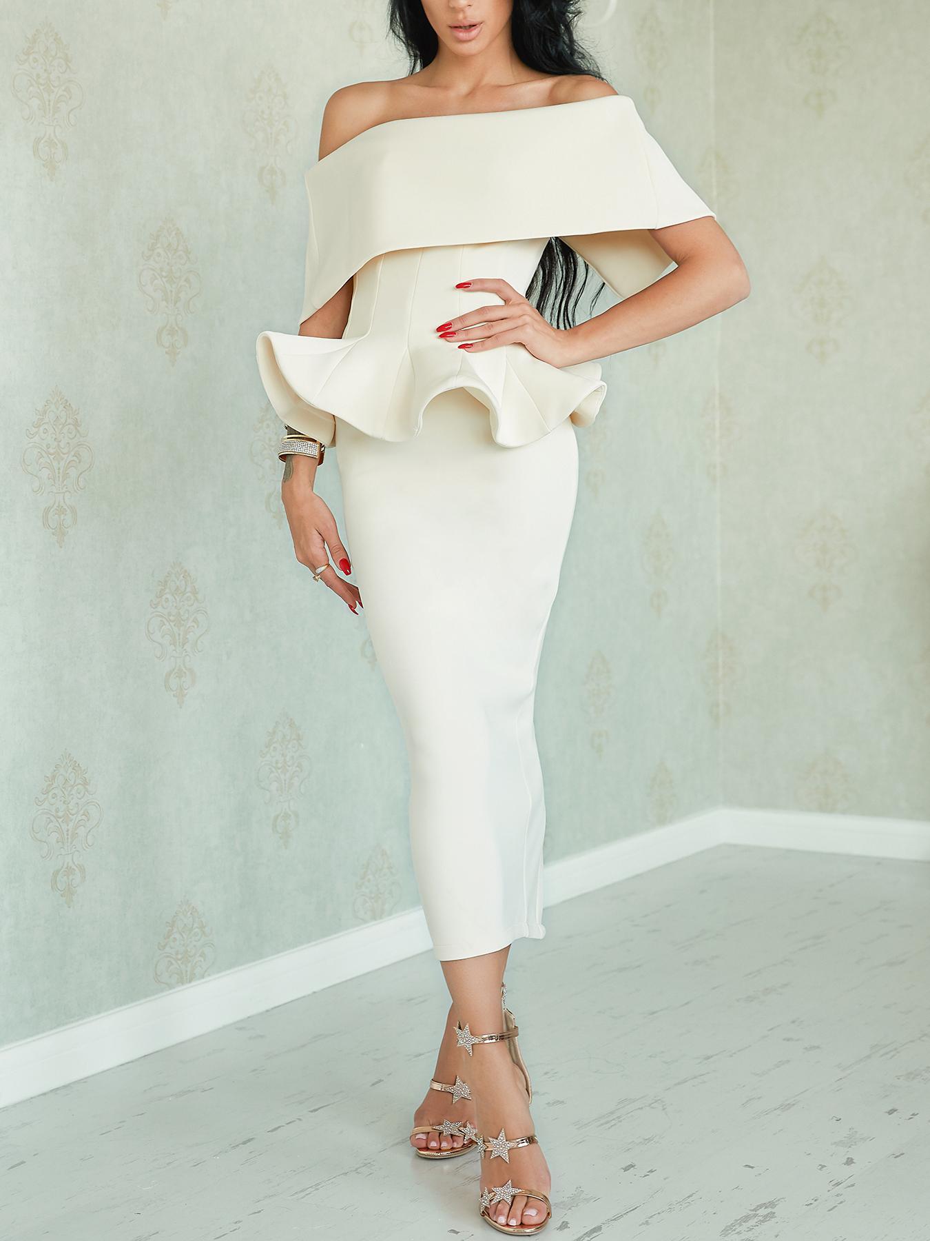 Off Shoulder Bow Peplum Top & Pencil Skirt Set