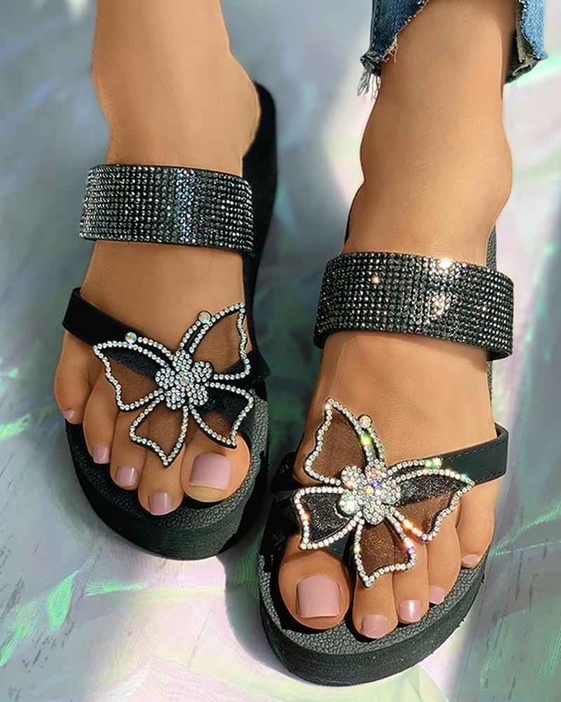 chicme / Sandálias de tiras de plataforma de strass de padrão de borboleta