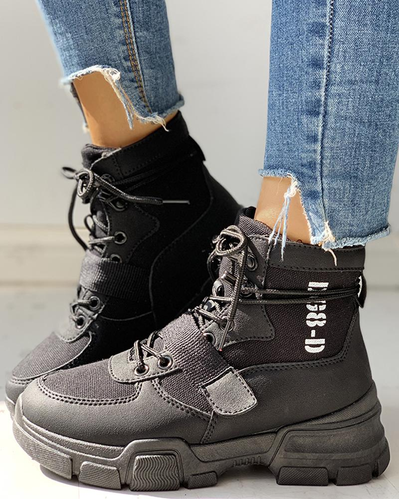chicme / Knitted Breathable Lace-Up Casual Boots