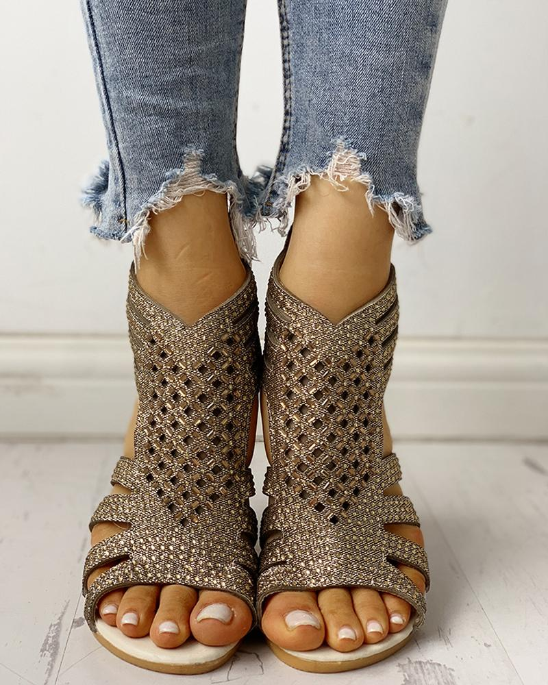 Studded Detail Hollow Out Flat Sandals фото