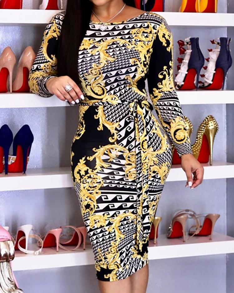 Long Sleeve Vintage Print Midi Dress