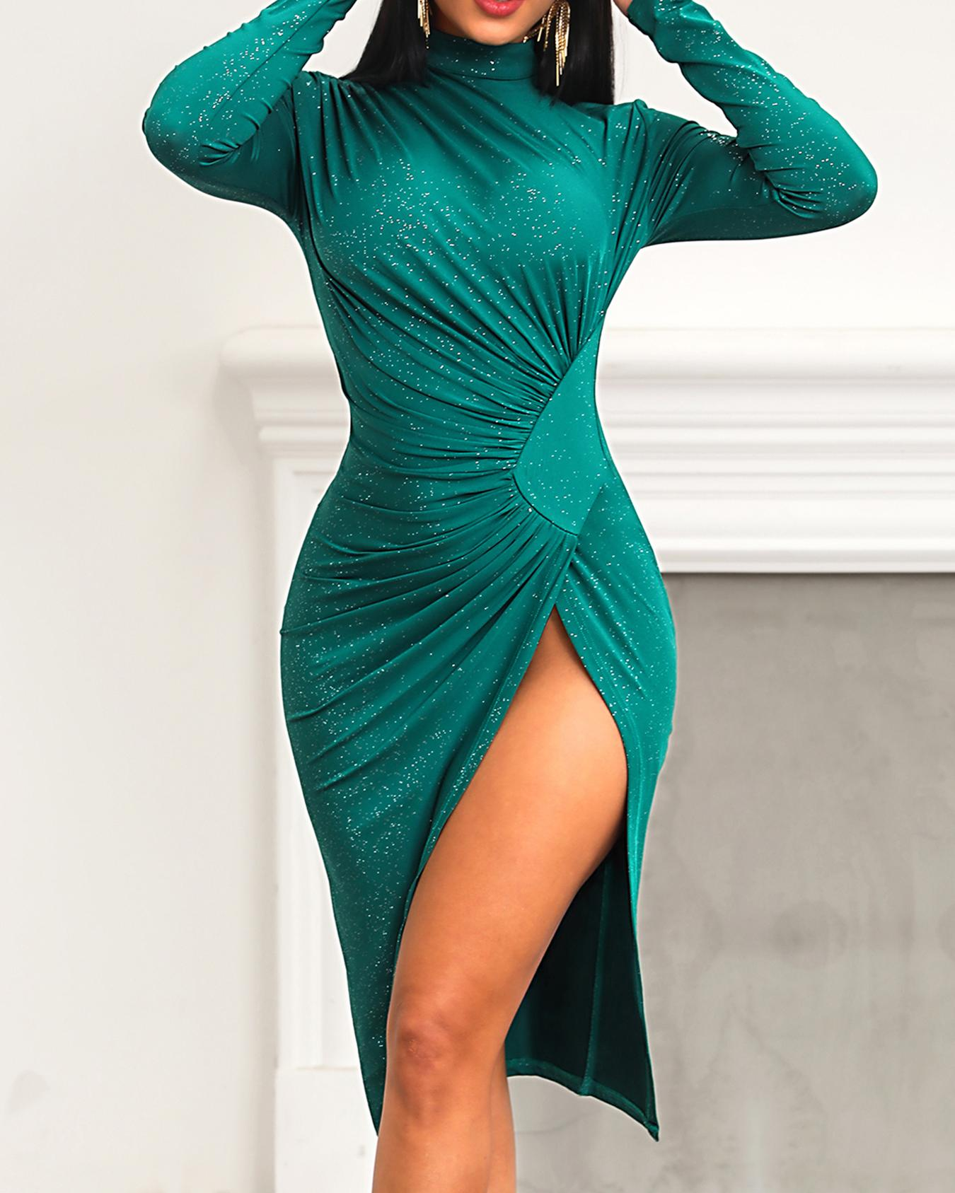 Image of High Slit Ruched Glitter Party Dress