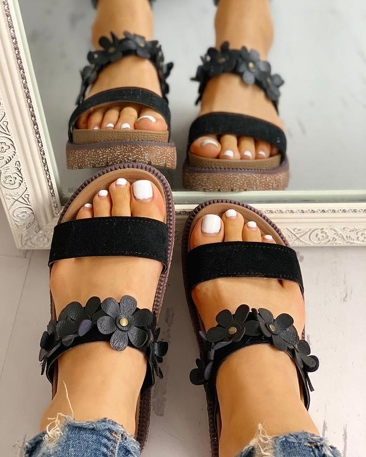 Floral Embellished Open Toe Flat Sandals