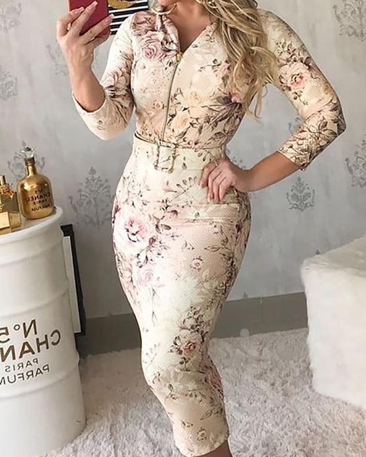 ivrose / Floral Print Zipper Bodycon Dress With Belt