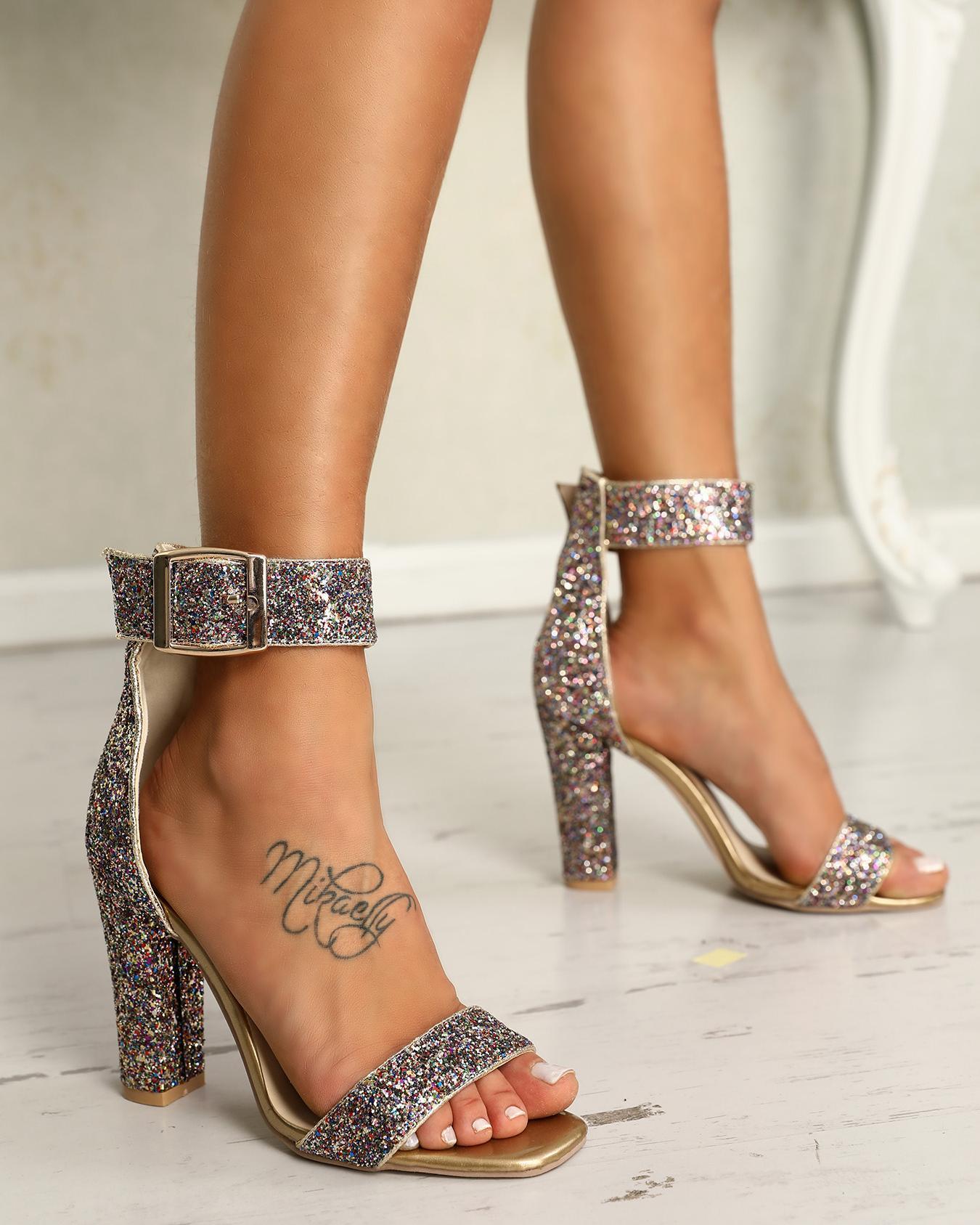 Stylish Sequin Open Toe Chunky Heeled Sandals фото