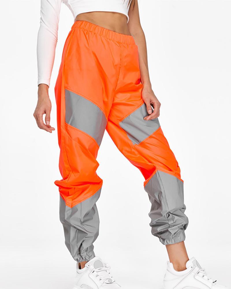 Casual Reflective Colorblock Sweatpants фото