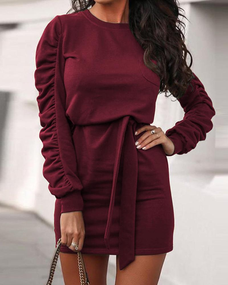 Ruched Sleeve Solid Knitted Bodycon Dress фото