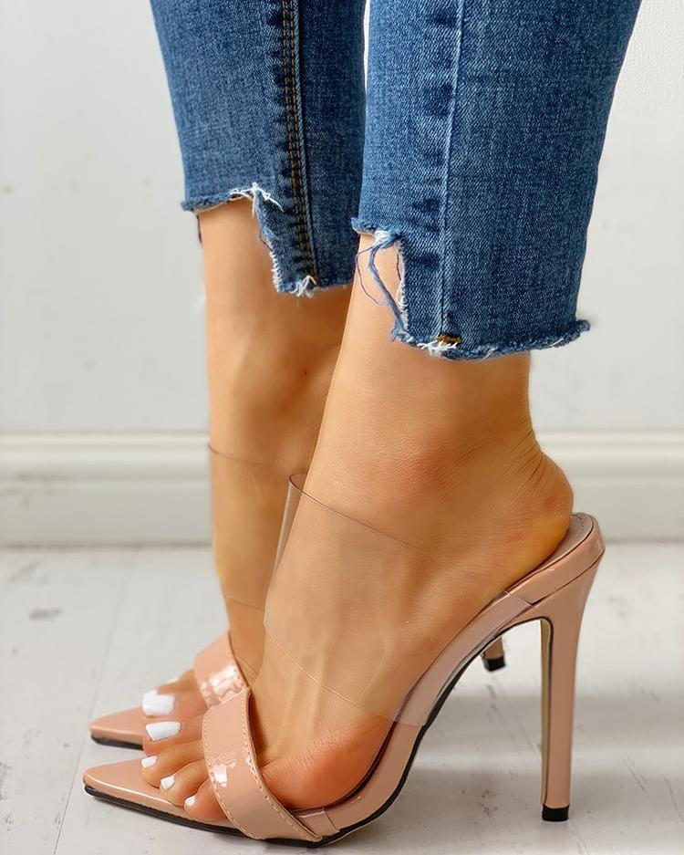ivrose / Open Toe Transparent Strap Thin Heeled Sandals